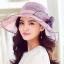 Pre-order หมวกผ้าไหมแท้ติดโบว์ดอกไม้แฟชั่นฤดูร้อน กันแดด กันแสงยูวี สวยหวาน สีม่วง thumbnail 1