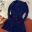 ชุดเดรสแฟชั่นผ้าชีฟองนิ่มพริ้วๆ มีสายผูกเอว กระดุมสีทองสีน้ำเงิน *มีภาพงานขายจริง thumbnail 4