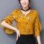 KTFN เสื้อแฟชั่นผ้าชีฟองเกาหลี พิมพ์ลาย คอวีเก๋ๆสามารถใส่ได้ทั้ง2ด้าน สีเหลือง thumbnail 1