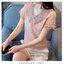 เสื้อแฟชั่นสไตล์เกาหลี ผ้าลูกไม้ลายดาว คอวีแต่งระบายอัดพรีท แอวสม๊อก สีชมพูนู้ด thumbnail 4