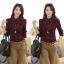 พร้อมส่ง เสื้อผ้าแฟชั่นเกาหลีปี 2014 เสื้อเชิ้ตคอปกแขนยาว เสื้อเชิ้ตทำงาน เสื้อผ้าทำงาน กระดุมหน้า ผ้าฝ้าย thumbnail 3