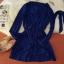 ชุดเดรสแฟชั่นผ้าชีฟองนิ่มพริ้วๆ มีสายผูกเอว กระดุมสีทองสีน้ำเงิน *มีภาพงานขายจริง thumbnail 7