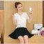KTFN เสื้อแฟชั่นเกาหลี ผ้าลูกไม้ คอวี สม๊อคเอว จี้รูปหัวใจ สีขาว thumbnail 7