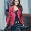 พร้อมส่ง XL เสื้อแจ็คเก็ตหนัง เสื้อแจ็คเก็ตผู้หญิง เข้ารูปพอดีตัว คอจีน มีปก สีแดง แต่งซิปเก๋ ขลิบดำ แฟชั่นเกาหลี thumbnail 2