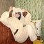 [พร้อมส่ง] ชุดนอนเสื้อขนสัตว์มีฮูดหมี+กางเกง มีสีน้ำตาล/ครีม thumbnail 11