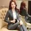พรีออเดอร์ ชุดสูทกางเกงผู้หญิง สีเทา (เสื้อสูทแขนยาว+กางเกง) ผ้าผสม แฟชั่นเกาหลี thumbnail 1