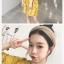 KTFNเดรสแฟชั่นลายดอก ผ้าชีฟองหนา ทึบแสง สีเหลือง thumbnail 2