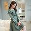 ชุดเดรสแฟชั่นเกาหลี แต่งระบายVหน้าอก แขนยาว L450RX สีเขียว thumbnail 1
