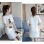 เดรสแฟชั่นผ้าคอตตอน พิมพ์ลายการ์ตูนผู้หญิงแฟชั่น สีขาว thumbnail 4