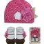 Luvena Fortuna Girls Knit Hat & Socks กิ๊ฟเซ็ตของขวัญหมวกและถุงเท้าเด็กหญิงรูปดอกกุหลาบ 0-12เดือน thumbnail 1