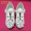 15D921 White รองเท้าเด็กผู้หญิง หนังแก้วสีขาว ส้นสูงปานกลาง ใส่ไป งานแต่งงาน งานเลี้ยง ไซส์31-36 thumbnail 2
