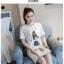 เดรสแฟชั่นผ้าคอตตอน พิมพ์ลายการ์ตูนผู้หญิงแฟชั่น สีขาว thumbnail 1