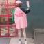 [พร้อมส่ง] เสื้อยืดตัวหลวมแนวสตรีทสไตล์เกาหลีสีชมพูหวานแขน 7 ส่วน thumbnail 3