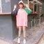 [พร้อมส่ง] เสื้อยืดตัวหลวมแนวสตรีทสไตล์เกาหลีสีชมพูหวานแขน 7 ส่วน thumbnail 4
