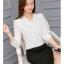 เสื้อแฟชั่นสีพื้น แขนยาว คอผูกโบว์ ใส่ทำงานได้ 146RX สีขาว thumbnail 2