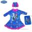 (สำหรับเด็กอายุ 6เดือน-14 ปี) ชุดว่ายน้ำเด็กผู้หญิง Disney Frozen Fever ชุดกระโปรงซิบหน้า สีฟ้า เสื้อแขนยาว สกรีนลาย เจ้าหญิง อันนา เอลซ่า มาพร้อมหมวกว่ายน้ำและถุงผ้า สุดน่ารัก ใส่สบาย ดิสนีย์แท้ ลิขสิทธิ์แท้ thumbnail 1