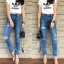 กางเกงแฟชั่น กางเกงยีนส์ทรงบอยเฟรน รุ่นใหม่ล่าสุด ทรงเอวสูง ฟอกสีสวย thumbnail 14