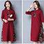 KTFN ชุดเดรสยาว ผ้าฝ้ายเนื้อหนานิ่ม ตัดต่อลวดลายตามภาพ คอจีน สีไวน์แดง thumbnail 4