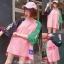 [พร้อมส่ง] เสื้อยืดตัวหลวมแนวสตรีทสไตล์เกาหลีสีชมพูหวานแขน 7 ส่วน thumbnail 1