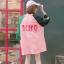 [พร้อมส่ง] เสื้อยืดตัวหลวมแนวสตรีทสไตล์เกาหลีสีชมพูหวานแขน 7 ส่วน thumbnail 5