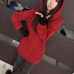 2014 เสื้อคลุมกันหนาว มีฮู้ดหูโค้งมลน่ารัก สีแดง ผ้าฝ้ายฟูลเลอร์ สวยหวานน่ารักมากๆค่ะ