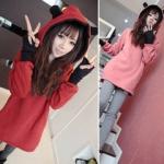 2014 เสื้อคลุมกันหนาว มีฮู้ดหูโค้งมลน่ารัก สีชมพู ผ้าฝ้ายฟูลเลอร์ สวยหวานน่ารักมากๆค่ะ