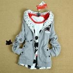2013 เสื้อคลุมกันหนาว มีฮู้ด แมวน้อยน่ารัก สีเทา ซิปด้านหน้า สวยน่ารักมากๆค่ะ