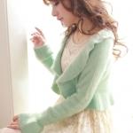 เสื้อคลุมแฟชั่นกันหนาว : เสื้อคลุมผ้าฝ้าย flouncing  ผ้าสักหลาด เวตเตอร์ถัก สีเขียวมิ้นท์ สวยหวานน่ารักมากๆค่ะ 2013