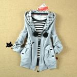 2014 เสื้อคลุมกันหนาว มีฮู้ด แมวน้อยน่ารัก สีเทา ซิปด้านหน้า สวยน่ารักมากๆค่ะ