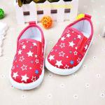 รองเท้าเด็ก รองเท้าผ้าใบเด็ก รองเท้าเด็กวัยหัดเดิน ลายดาวสีชมพู พื้นยางกันลื่น