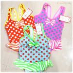 ชุดว่ายน้ำเด็ก ชุดว่ายน้ำเด็กหญิง ชุดว่ายน้ำหนูน้อย ชุดว่ายน้ำเด็กเล็ก ลายจุด สีสดใสน่ารักมาก