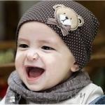 หมวกเด็ก หมวกเด็กอ่อน หมวกเด็กสไตล์เกาหลี ตุ๊กตาหมีลายจุด