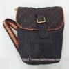 กระเป๋าสะพาย นารายา ผ้าเดนิม สียีนส์ น้ำเงินเข้ม ขอบส้ม (กระเป๋านารายา กระเป๋าผ้า NaRaYa กระเป๋าแฟชั่น)