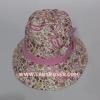 หมวก ผ้าคัตตอน นารายา ทรงปีกสั้น ประดับโบว์ ลายหยดน้ำ สีชมพู ( กระเป๋าผ้า นารายา NaRaYa )