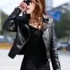 Pre-Order เสื้อแจ็คเก็ตหนัง เสื้อแจ็คเก็ตผู้หญิง เข้ารูปพอดีตัว สีดำ แต่งซิปเก๋ มีปก แฟชั่นเกาหลี