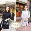 Lady Ribbon's Made Lady Abigail, Black&White Gorgeous Triangle StripeTtrim Mini Dress, Korea มินิเดรสเกาหลีแขนศอกสีขาว-ดำ เก๋ๆด้วยดีเทลกระโปรงทรง A เล่นชายผ่าทรง Triangle ผสมผสานด้วยดีเทลตัดต่อผ้าลายขวางอย่างลงตัว ลุคผู้ดี เรียบหรู ด้วยโทนสี ขาว-ดำ classi