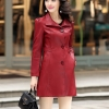 (Pre-order) เสื้อแจ็คเก็ตหนังแท้ เสื้อโค๊ตยาว หนังแกะ แฟชั่นเกาหลี สีไวน์แดง