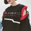 [Preorder] เสื้อตัวยาวหลวมสไตล์เกาหลีแขนเย็บผูกด้วยเชือก มีสีดำ/ส้ม