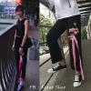 [Preorder] กางเกงขายาว 9 ส่วนสีดำปักดอกไม้ติดริบบิ้นสีชมพู