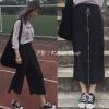 [พร้อมส่ง] กางเกงขายาวสีดำสไตล์เรโทร สามารถรูดซิปแปลงเป็นกระโปรงได้