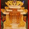 ศาลเจ้าที่ขนาด 24นิ้ว(รุ่นมหาเศรษฐี) 888 แฝงมังกรหยินหยาง หินสีชมพู พ่นทอง