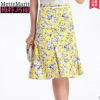 Pre-Order กระโปรงทรงเอไลน์ กระโปรงบาน ผ้าโพลีเอสเตอร์พิมพ์ลายดอกไม้ สีเหลือง