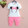 (พร้อมส่ง Size 8 ) ชุดเด็กลายมินนี่ สีชมพู เสื้อ+กางเกง+เข็มขัดเข้ากัน