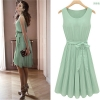 Cherry Dress พร้อมส่ง ชุดเดรสแฟชั่น แขนกุด ผ้าชีฟอง สีเขียว กระโปรงอัดพลีท สวยมาก ใส่ออกงานได้