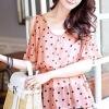 เสื้อแฟชั่น : ผ้าชีฟอง สีชมพู ลายจุด โค้งเว้าช่วงหัวไหล่  สวยหวานน่ารักมากค่ะ