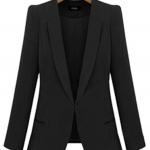 Pre-Order เสื้อสูททำงานแขนยาว เสื้อสูทผู้หญิง สูทลำลอง สีดำ แฟชั่นชุดทำงานสไตล์เกาหลี