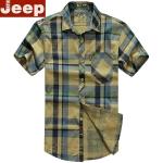 Pre-order เสื้อเชิ๊ตแขนสั้น ลายสก๊อตโทนสีกากี แฟชั่นสไตล์อเมริกันคลาสสิก หนุ่มมาดเท่ NIAN Jeep