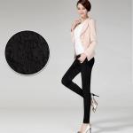 Pre-Order กางทำงานผู้หญิง กางเกงลำลอง ผ้าฝ้ายทอลายในตัว ขาเดฟ ขอบเอวผ้ายืด พอดีตัว สีดำ