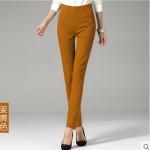 Pre-Order กางทำงานผู้หญิง กางเกงลำลอง กางเกงสแล็ค ขาตรง ขอบเอวผ้ายืด พอดีตัว สีขิง