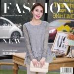Pre-order เสื้อผ้าลูกไม้ แขนยาว ตกแต่งลูกไม้และฉลุผ้าชีฟอง เสื้อลูกไม้ลำลองแบบหรูหรา สีเทา แฟชั่นสไตล์เกาหลีปี 2015